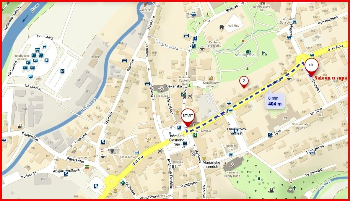 Mapa trasy z náměstí turnov k restauraci u supa.